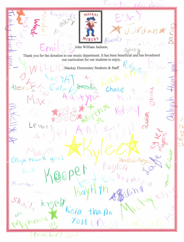 Thank You Letter From Mackay Elementary School John William Jackson Fund